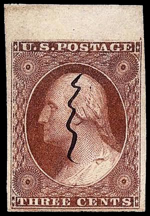 Gash in ear, Scotts - US Postage Stamps