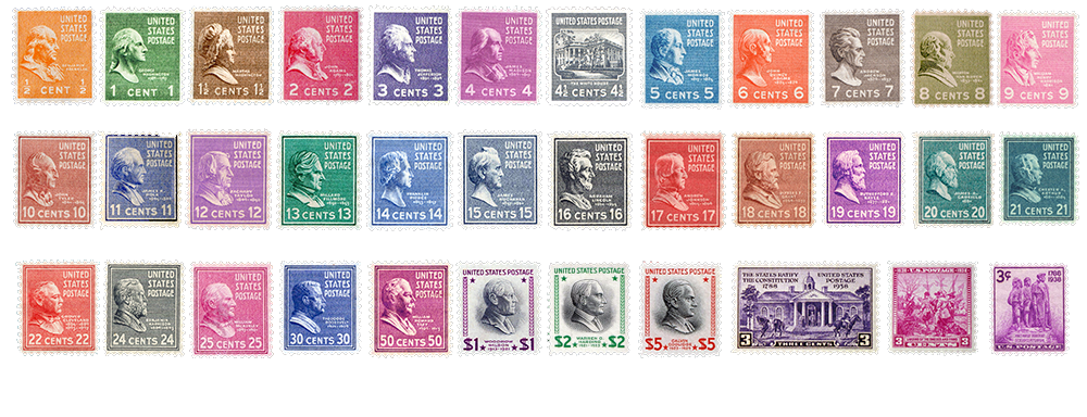 1938 US Postage Stamps