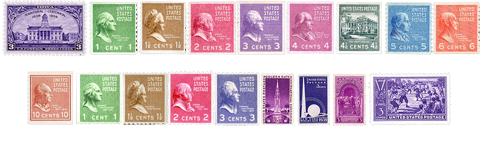 1939 US Postage Stamps