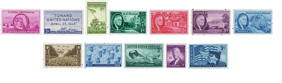 1945 US Postage Stamps