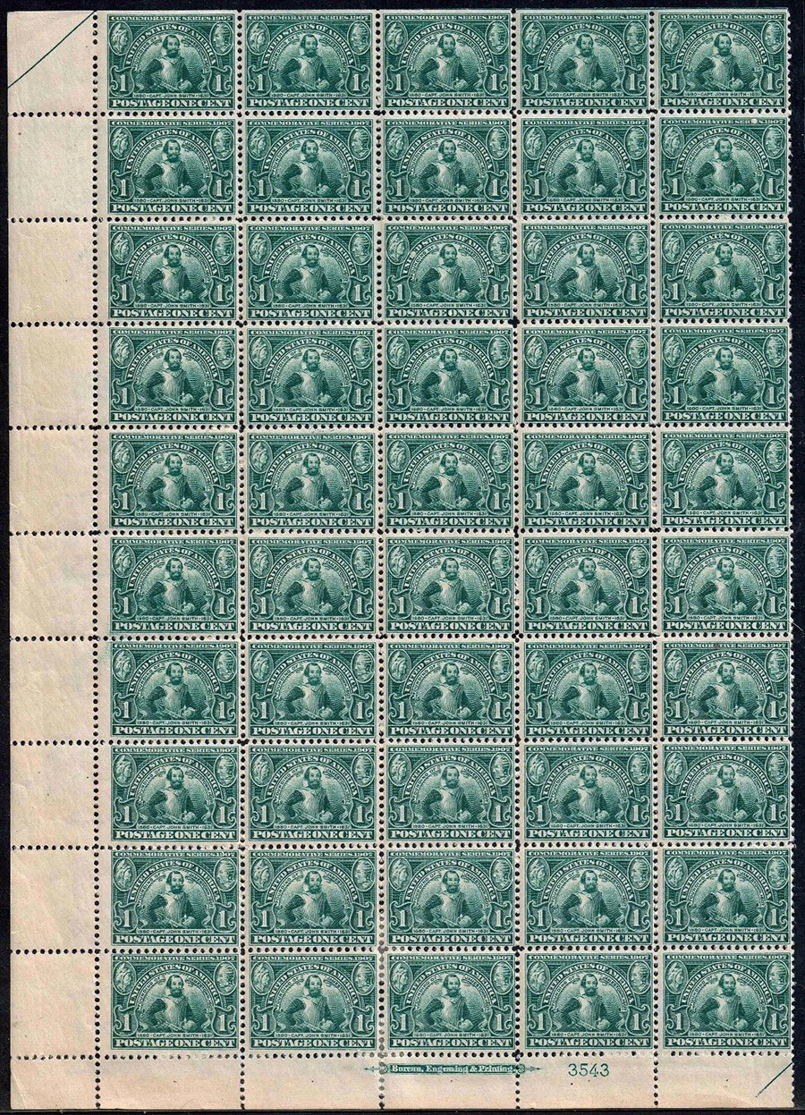 US stamp 328 sheet