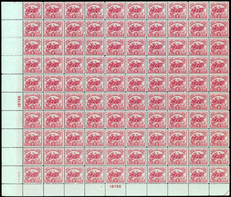US stamp 629 sheet