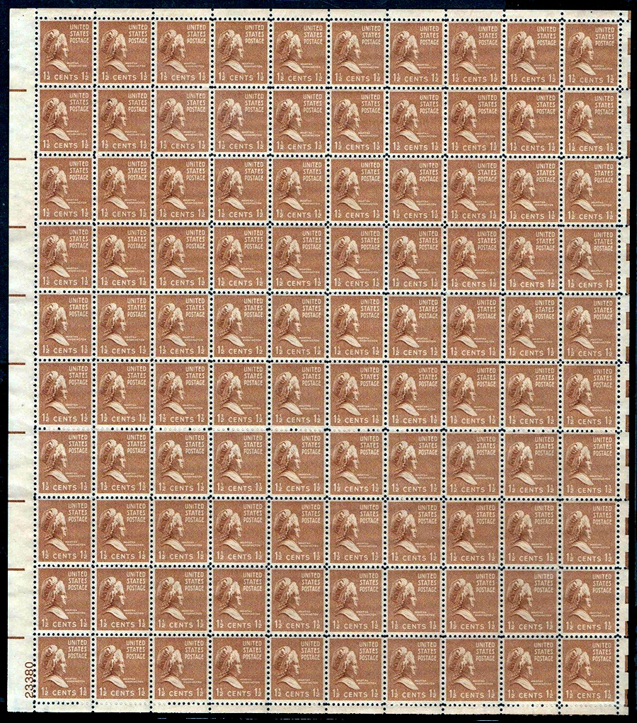 US stamp 805 sheet