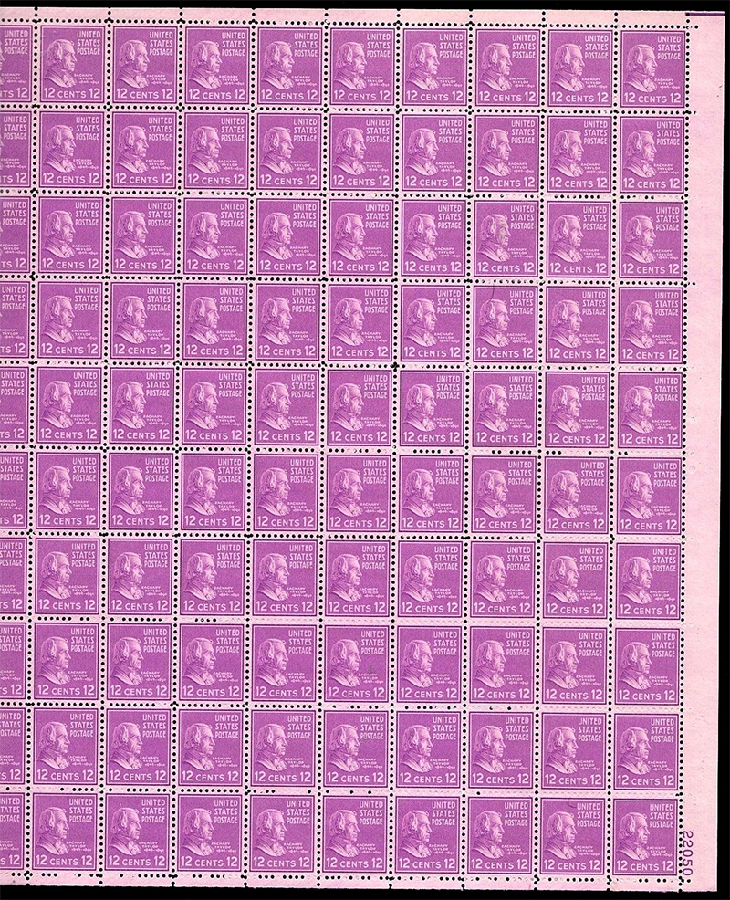 US stamp 817 sheet