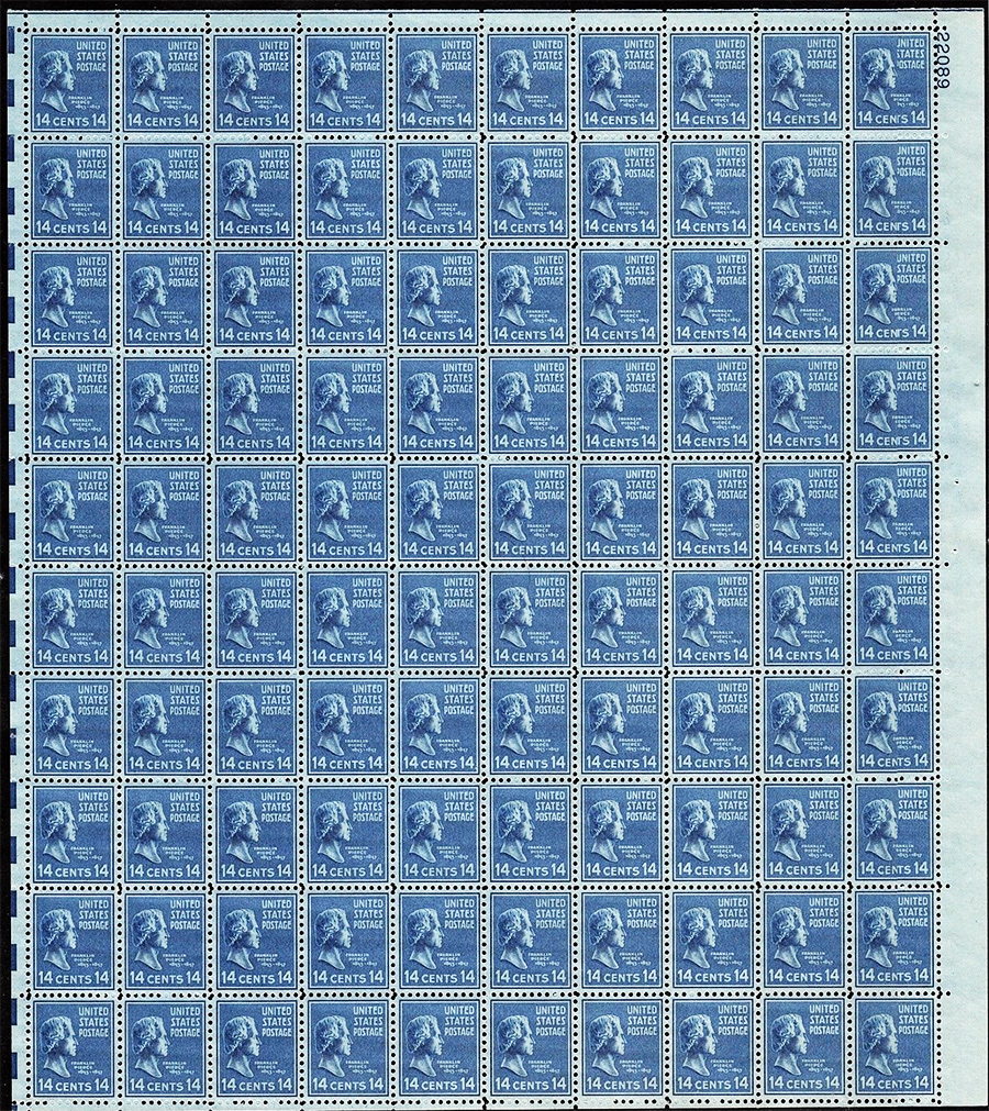 US stamp 819 sheet