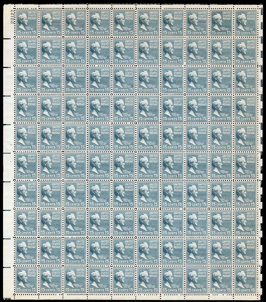 US stamp 820 sheet