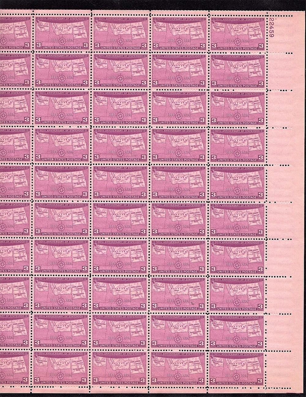 US stamp 858 sheet